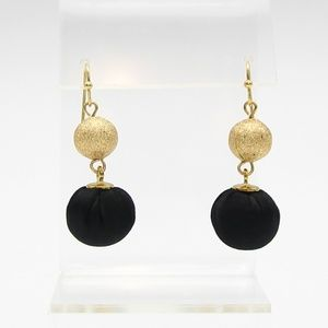 Jewelry - Black Satin and Gold Glitter Ball Earrings